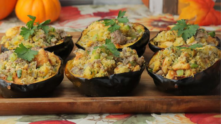 Cornbread Stuffing Filled Squash