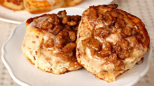 Sausage Topped Cinnamon Rolls
